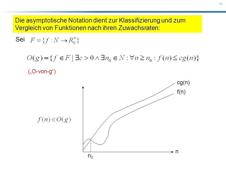 Die asymptotische Notation dient zur Klassifizierung und zum Vergleich von Funktionen nach ihren Zuwachsraten: