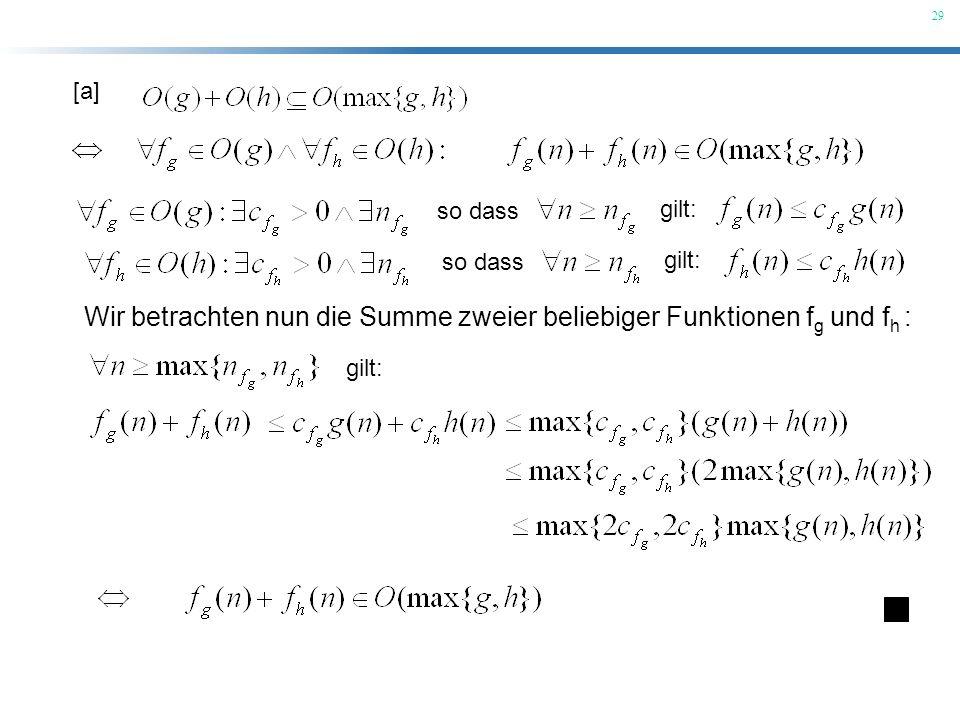 Wir betrachten nun die Summe zweier beliebiger Funktionen fg und fh :