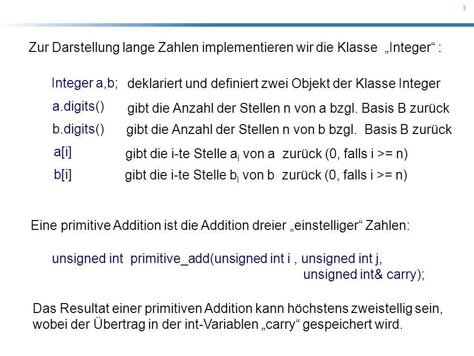 """Zur Darstellung lange Zahlen implementieren wir die Klasse """"Integer :"""