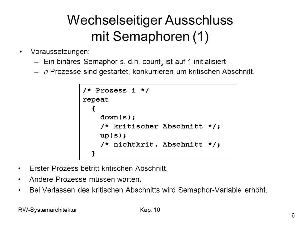 Wechselseitiger Ausschluss mit Semaphoren (1)