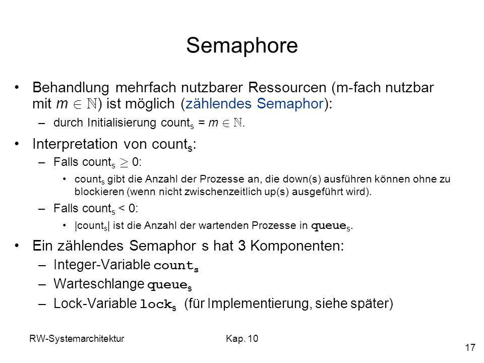 Semaphore Behandlung mehrfach nutzbarer Ressourcen (m-fach nutzbar mit m 2 N) ist möglich (zählendes Semaphor):