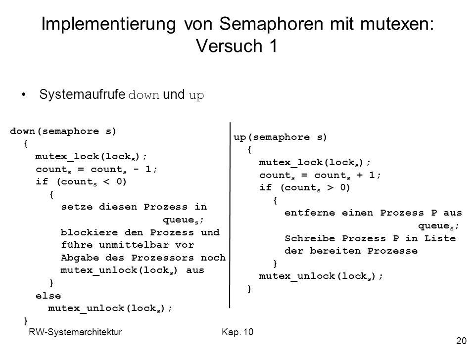 Implementierung von Semaphoren mit mutexen: Versuch 1