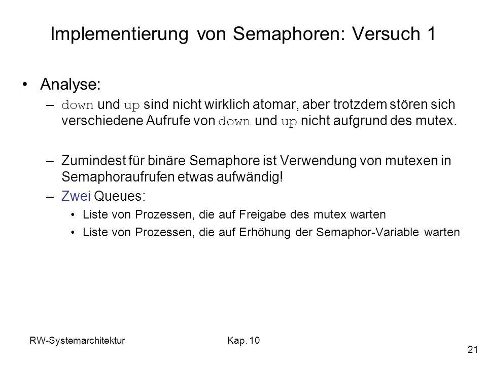 Implementierung von Semaphoren: Versuch 1