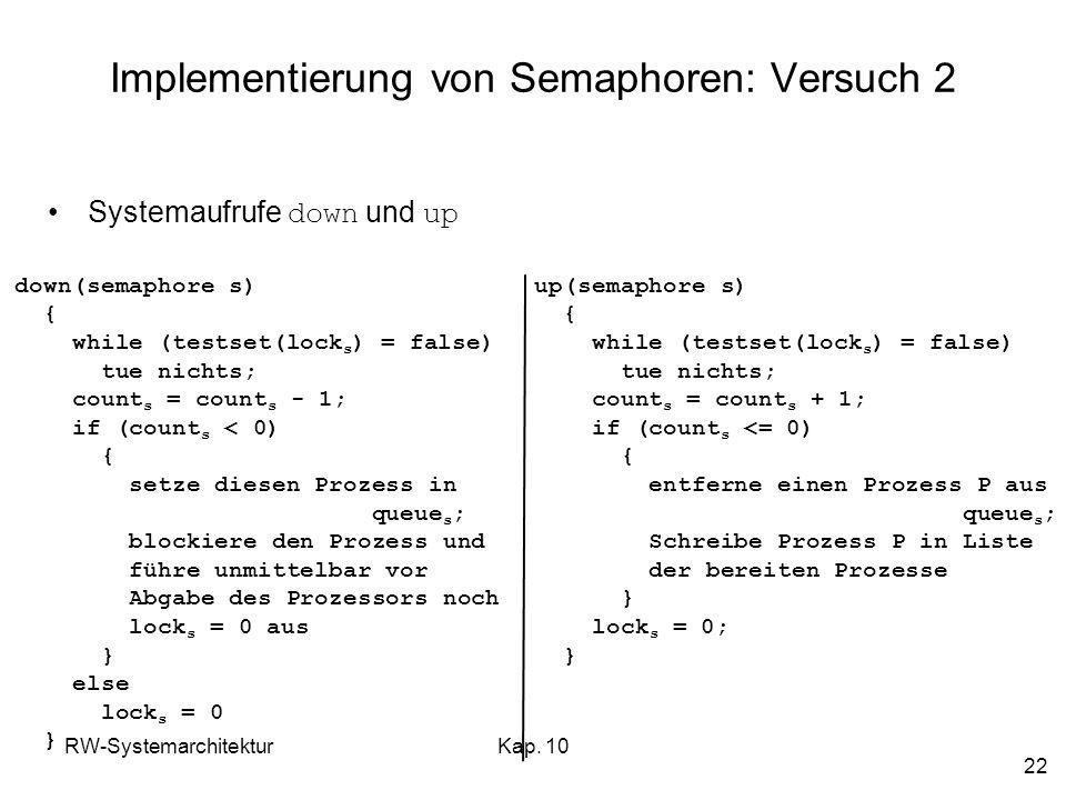 Implementierung von Semaphoren: Versuch 2