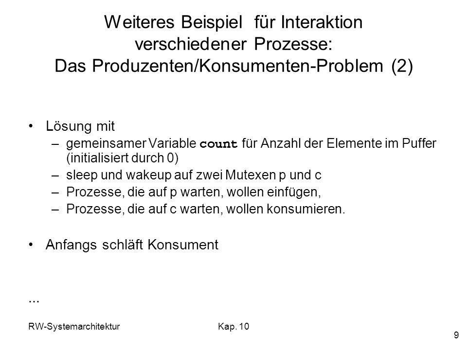 Weiteres Beispiel für Interaktion verschiedener Prozesse: Das Produzenten/Konsumenten-Problem (2)