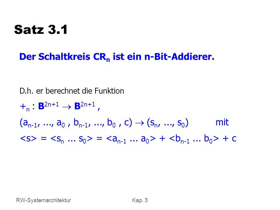 Satz 3.1 Der Schaltkreis CRn ist ein n-Bit-Addierer.