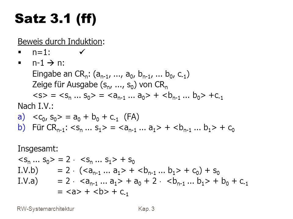 Satz 3.1 (ff) Beweis durch Induktion: n=1: ü n-1  n: