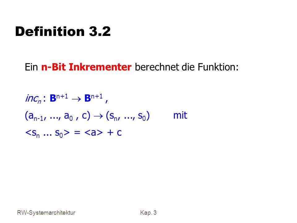 Definition 3.2 Ein n-Bit Inkrementer berechnet die Funktion: