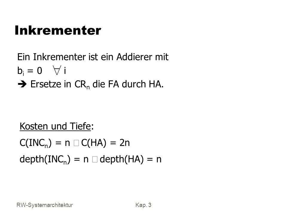 Inkrementer Ein Inkrementer ist ein Addierer mit bi = 0 i