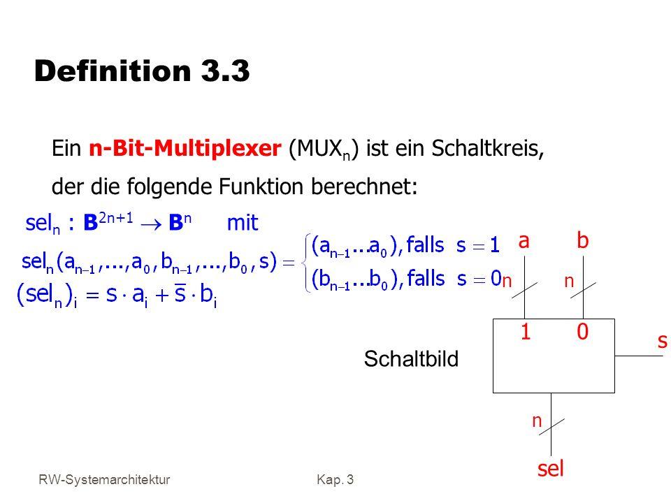 Definition 3.3 Ein n-Bit-Multiplexer (MUXn) ist ein Schaltkreis,