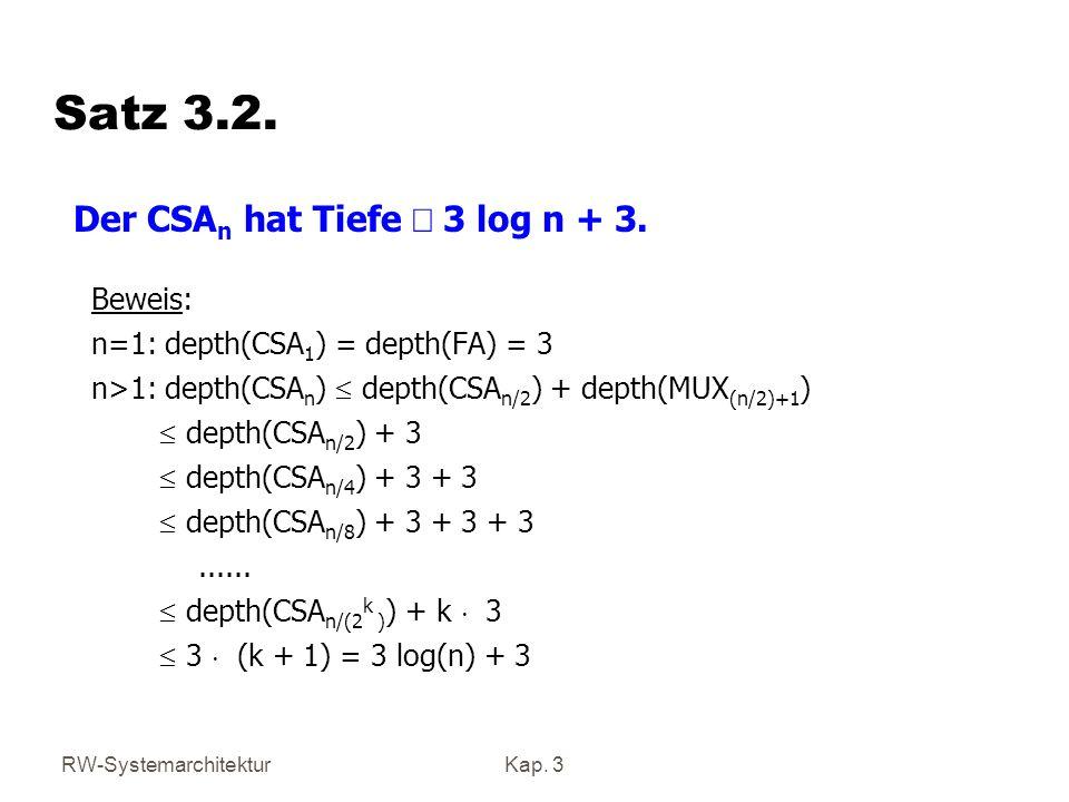 Satz 3.2. Der CSAn hat Tiefe £ 3 log n + 3. Beweis: