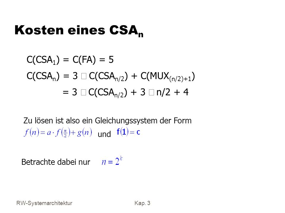 Kosten eines CSAn C(CSA1) = C(FA) = 5