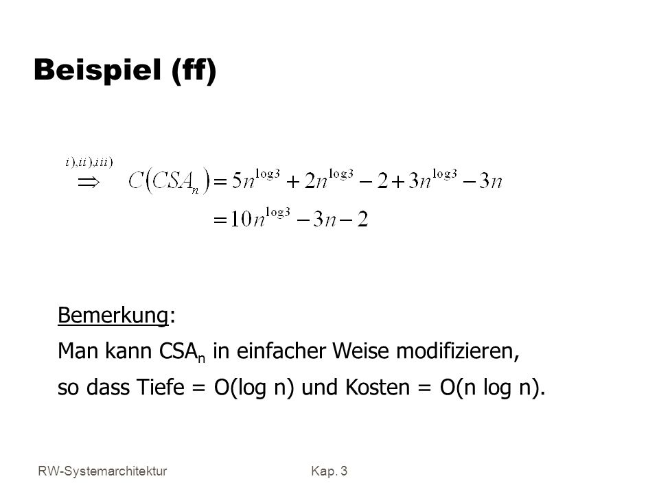 Beispiel (ff) Bemerkung: