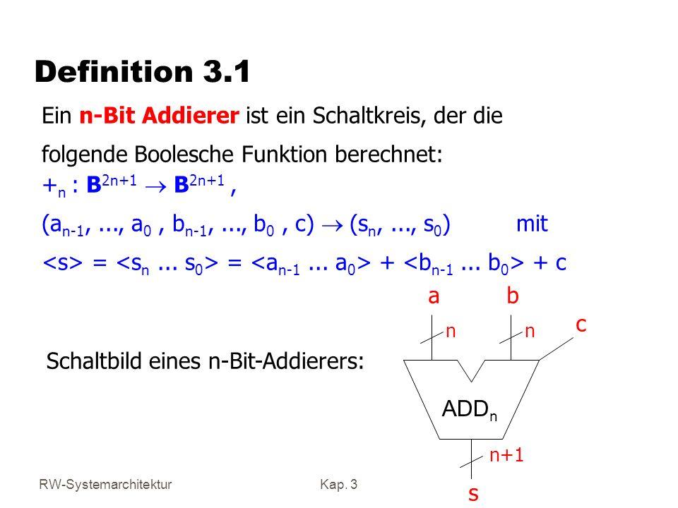 Definition 3.1 Ein n-Bit Addierer ist ein Schaltkreis, der die