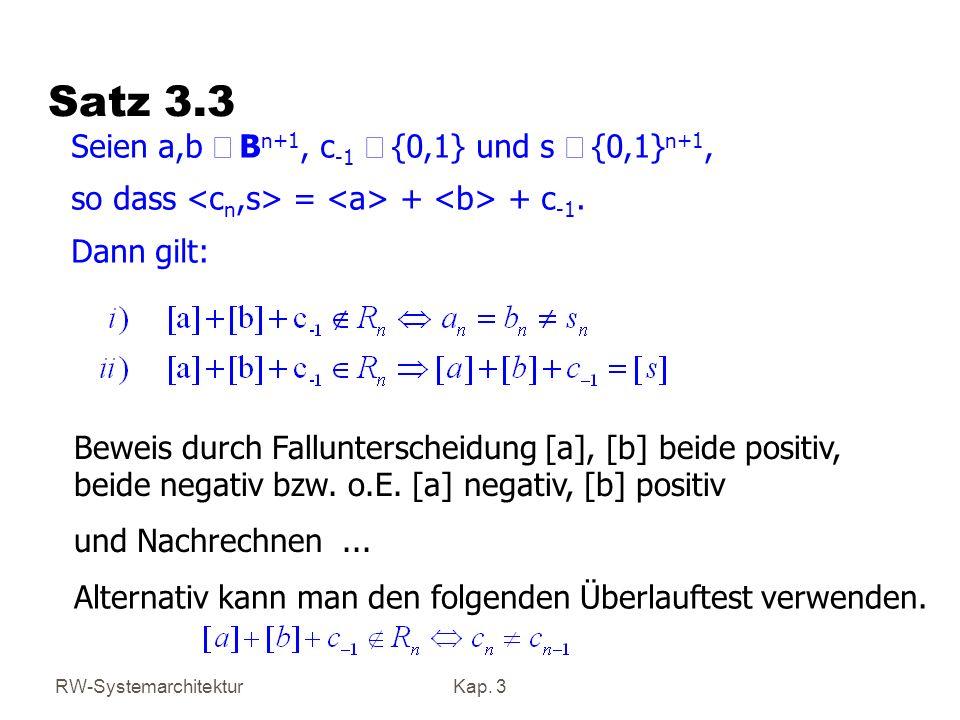 Satz 3.3 Seien a,b Î Bn+1, c-1 Î {0,1} und s Î {0,1}n+1,