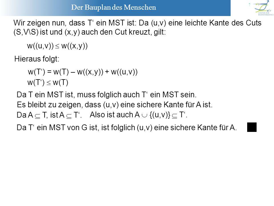 Wir zeigen nun, dass T' ein MST ist: Da (u,v) eine leichte Kante des Cuts (S,V\S) ist und (x,y) auch den Cut kreuzt, gilt: