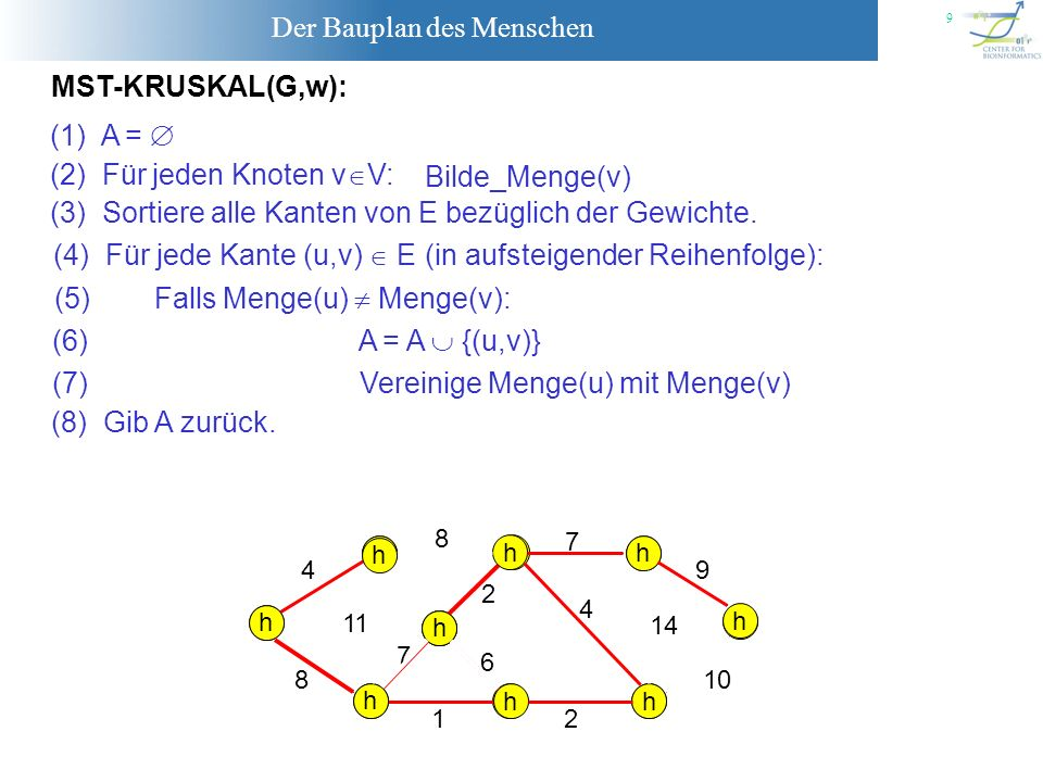 (2) Für jeden Knoten vV: Bilde_Menge(v)