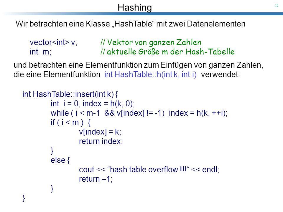 """Wir betrachten eine Klasse """"HashTable mit zwei Datenelementen"""