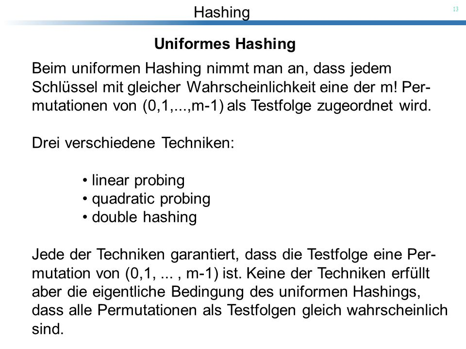 Uniformes Hashing