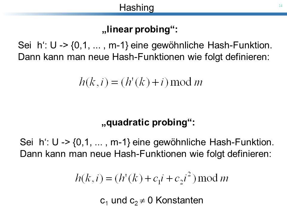"""""""linear probing : Sei h': U -> {0,1, ... , m-1} eine gewöhnliche Hash-Funktion. Dann kann man neue Hash-Funktionen wie folgt definieren:"""