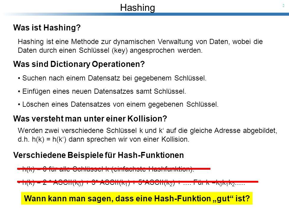 """Wann kann man sagen, dass eine Hash-Funktion """"gut ist"""