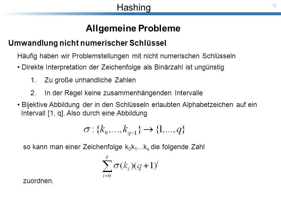 Allgemeine Probleme Umwandlung nicht numerischer Schlüssel