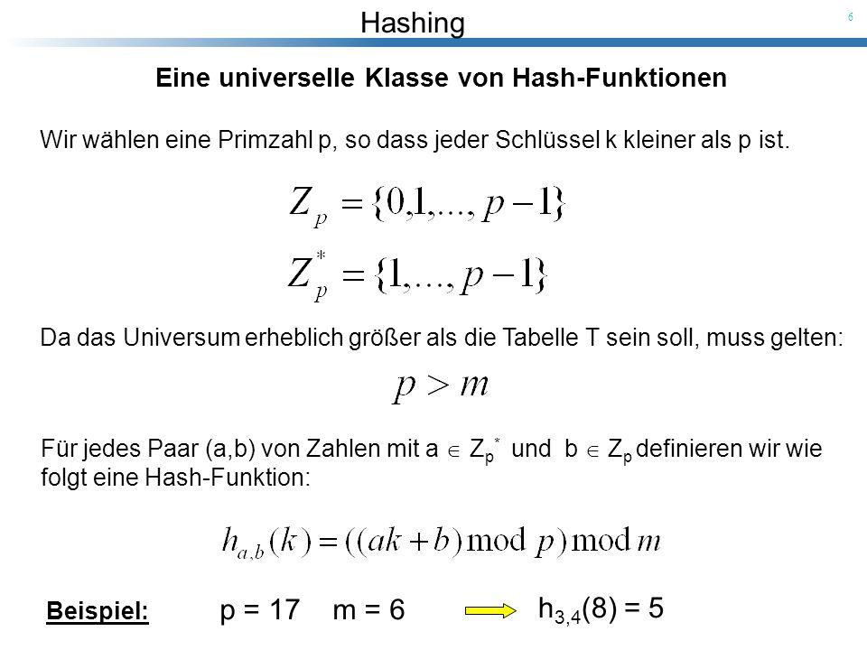 h3,4(8) = 5 Eine universelle Klasse von Hash-Funktionen