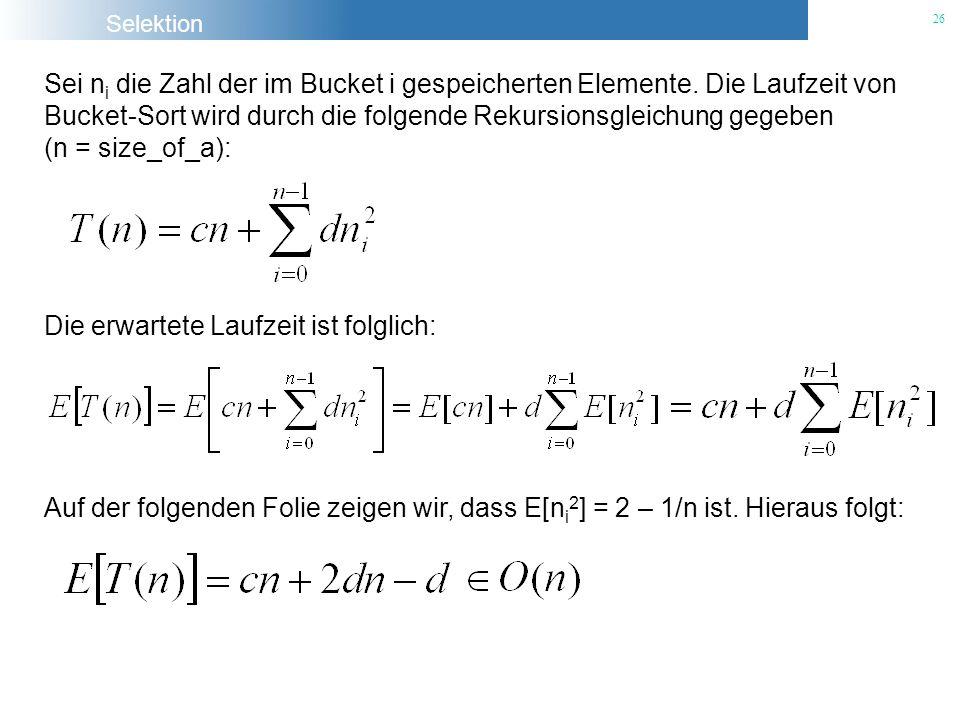 Sei ni die Zahl der im Bucket i gespeicherten Elemente