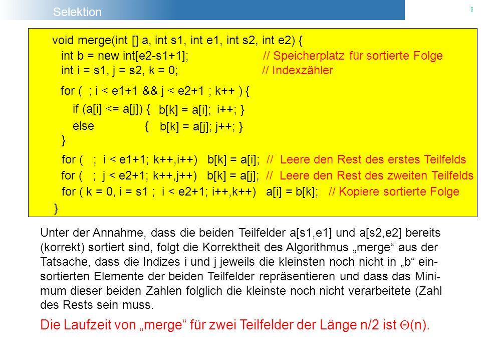 """Die Laufzeit von """"merge für zwei Teilfelder der Länge n/2 ist (n)."""