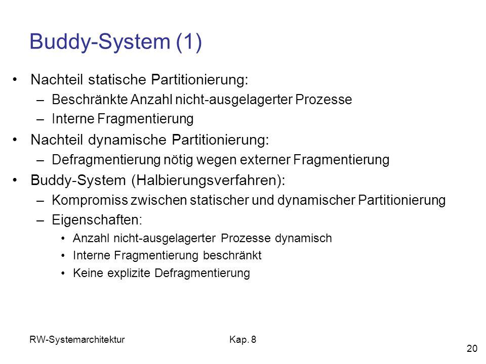 Buddy-System (1) Nachteil statische Partitionierung: