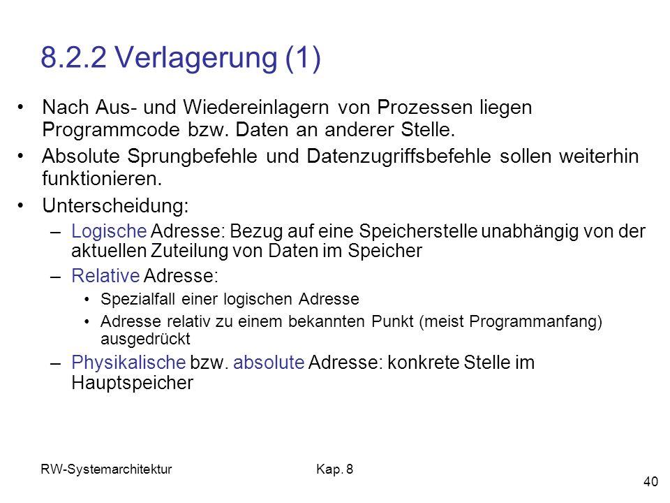 8.2.2 Verlagerung (1) Nach Aus- und Wiedereinlagern von Prozessen liegen Programmcode bzw. Daten an anderer Stelle.