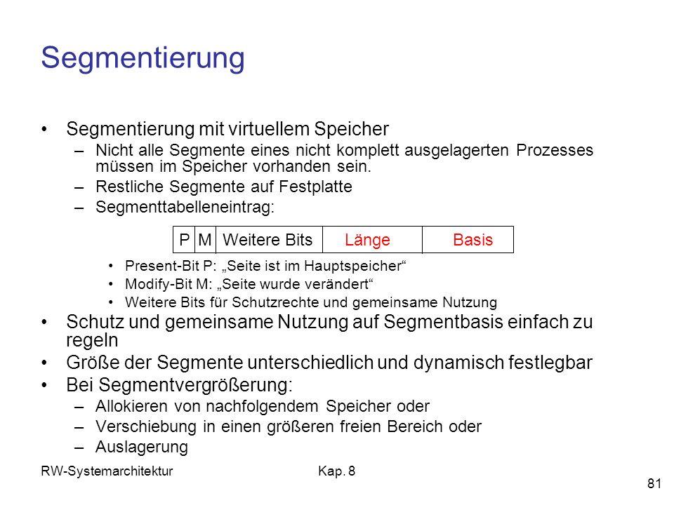 Segmentierung Segmentierung mit virtuellem Speicher