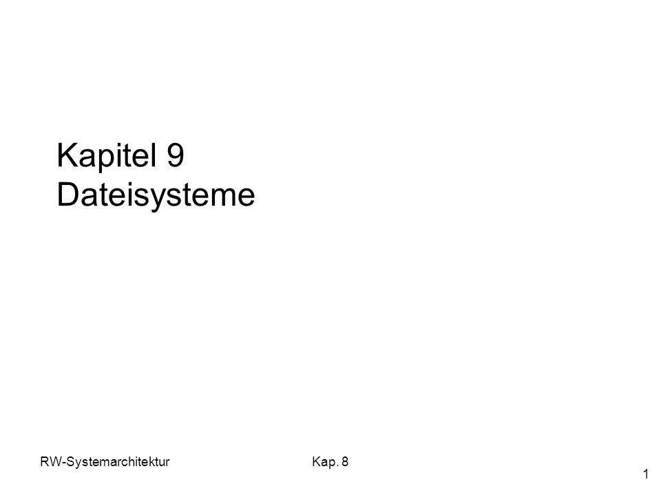 Kapitel 9 Dateisysteme RW-Systemarchitektur Kap. 8