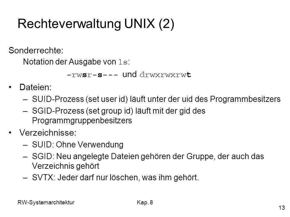 Rechteverwaltung UNIX (2)