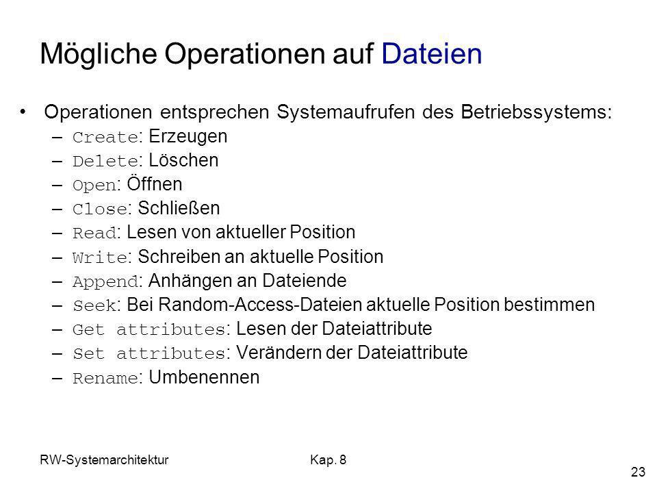 Mögliche Operationen auf Dateien