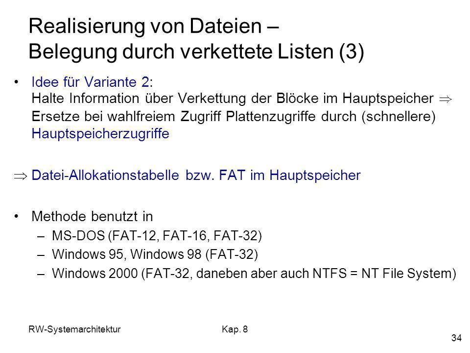Realisierung von Dateien – Belegung durch verkettete Listen (3)