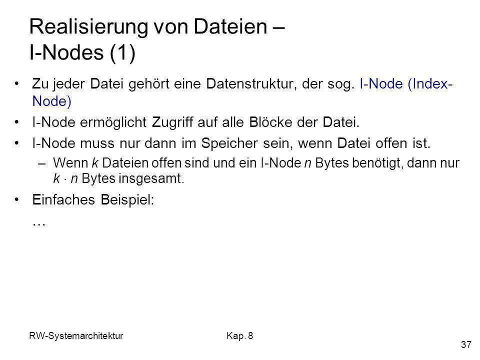 Realisierung von Dateien – I-Nodes (1)