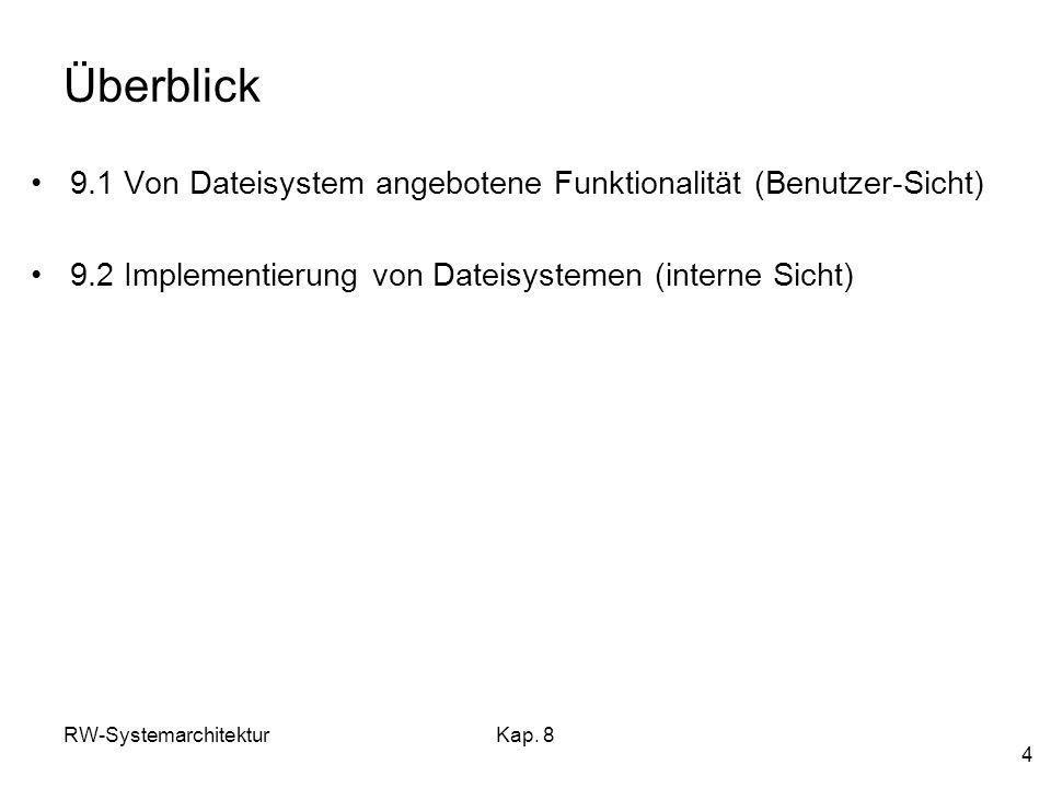 Überblick 9.1 Von Dateisystem angebotene Funktionalität (Benutzer-Sicht) 9.2 Implementierung von Dateisystemen (interne Sicht)
