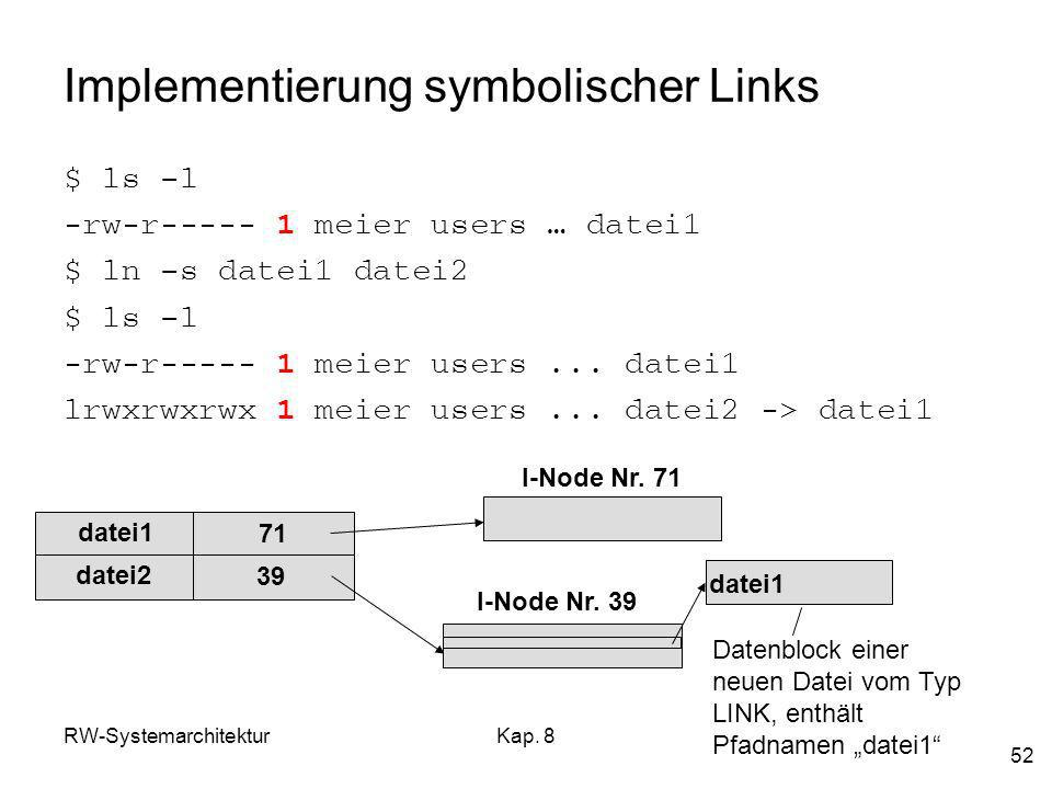 Implementierung symbolischer Links