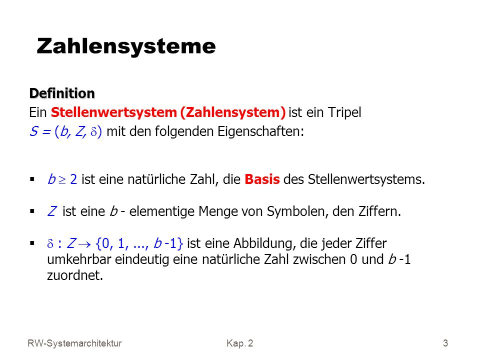 Zahlensysteme Definition