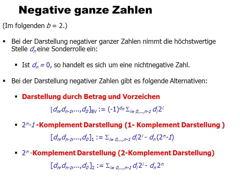 Negative ganze Zahlen (Im folgenden b = 2.)