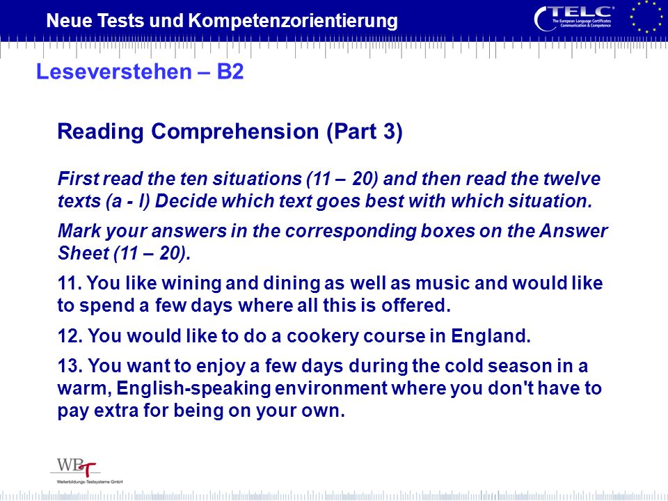 Reading Comprehension (Part 3)