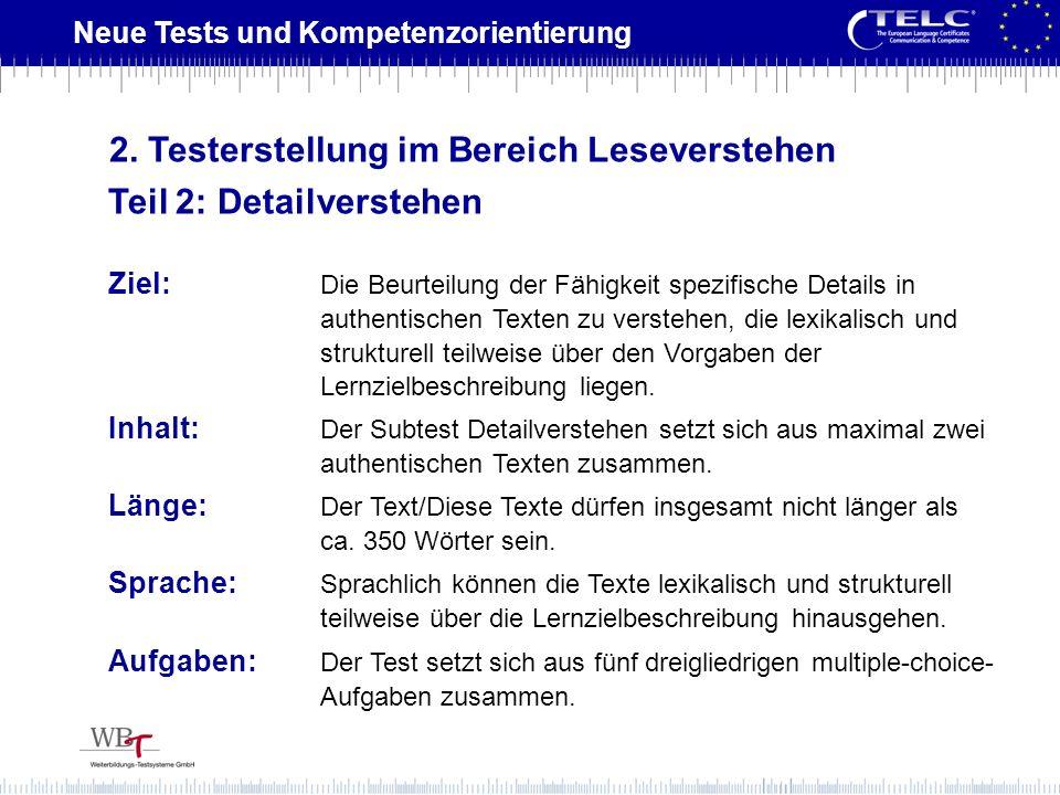 2. Testerstellung im Bereich Leseverstehen