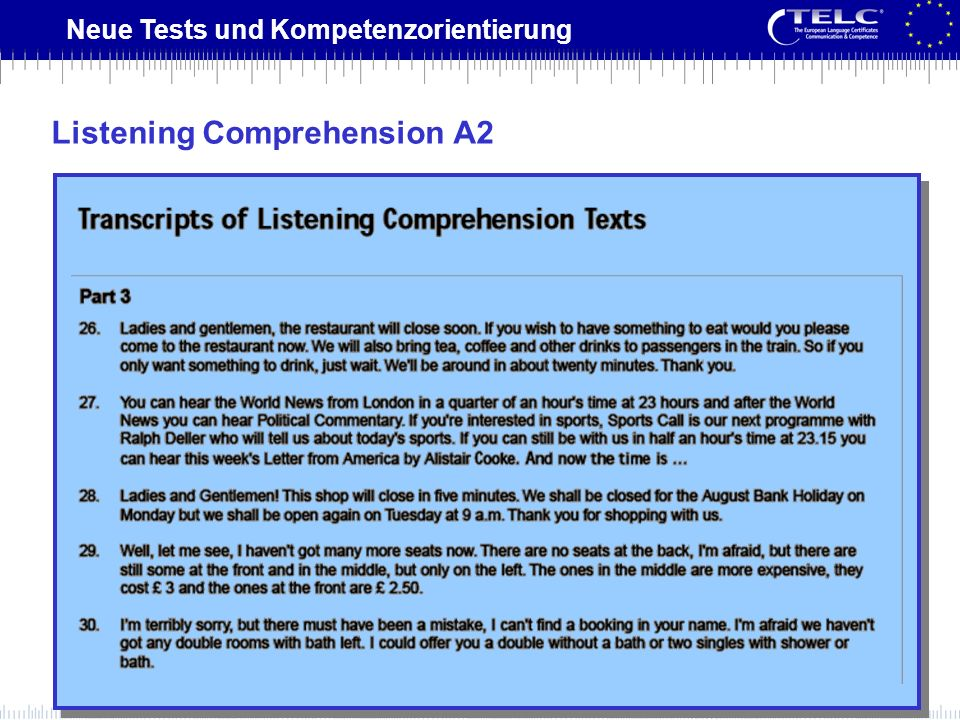 Listening Comprehension A2
