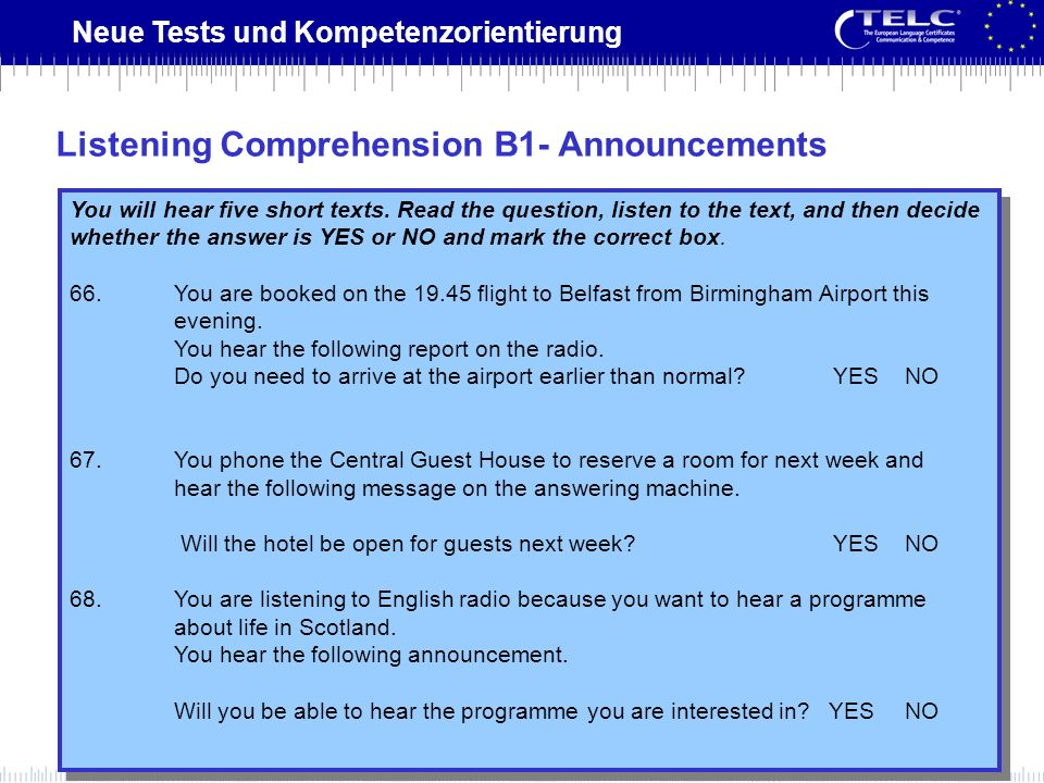 Listening Comprehension B1- Announcements