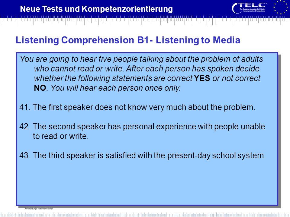 Listening Comprehension B1- Listening to Media