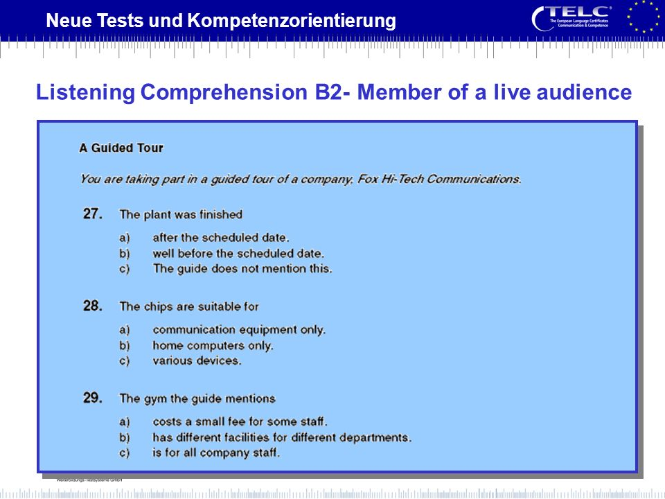 Listening Comprehension B2- Member of a live audience
