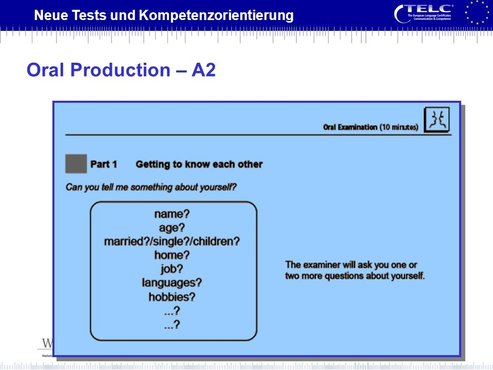 Oral Production – A2