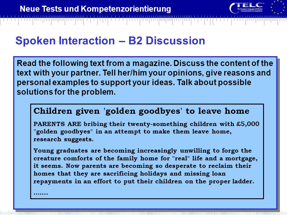 Spoken Interaction – B2 Discussion