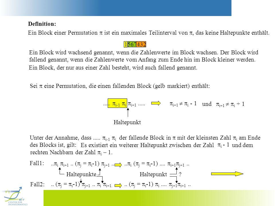 Definition: Ein Block einer Permutation  ist ein maximales Teilinterval von , das keine Haltepunkte enthält.